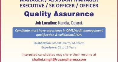 Rusan Pharma Ltd Urgent Hiring Manager Asst Manager Executive Sr Officer Officer Quality Assurance Department