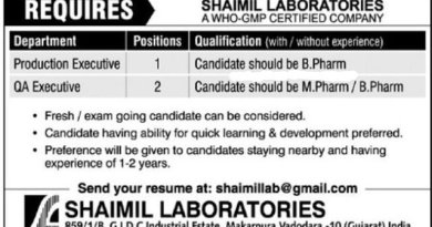 SHAIMIL LABORATORIES Urgent Requirement for Freshers and Experienced in Production Quality Assurance Departments Apply Now