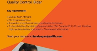Sai Life Sciences Urgent Openings for Quality Control Production Departments Apply Now