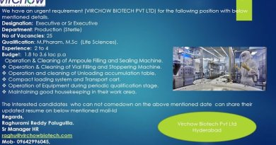 VIRCHOW BIOTECH PVT LTD Urgent Requirements for Production Sterile Apply Now