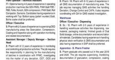 Zydus Cadila WalkIn Interviews for Production Warehouse Apprentice BPharm Freshers on 31st Oct 2020