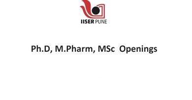 IISER Job Openings for PhD MPharm MSc