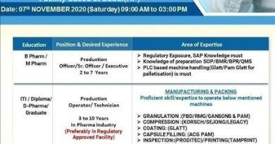 Alkem Laboratories Limited WalkIn Interviews for Multiple Openings on 7th Nov 2020