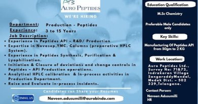 Auro Peptides Ltd Aurobindo Group Urgent Openings for Production Peptides