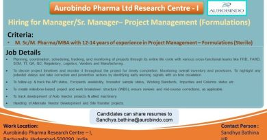 Aurobindo Pharma Ltd Urgent Openings in Project Management