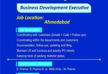 Finecure Pharmaceuticals Ltd Urgent Hiring BPharm DPharm MPharm BSc MSc Business Development Executive