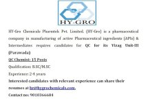 HYGRO Chemicals Openings for QC Chemists 15 Posts Apply Now