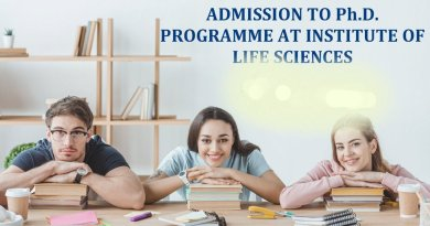 INSTITUTE OF LIFE SCIENCES ADMISSION TO PhD PROGRAMME