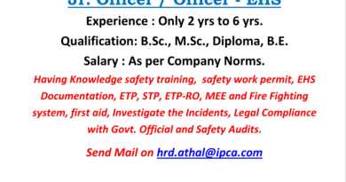 IPCA Laboratories Ltd Urgently Opening for Jr Officer Officer EHS Department Apply Now