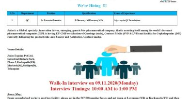 Jodas Expoim Pvt Ltd WalkIn Interviews for BPharm MPharm Experienced Candidates QC on 9th Nov 2020