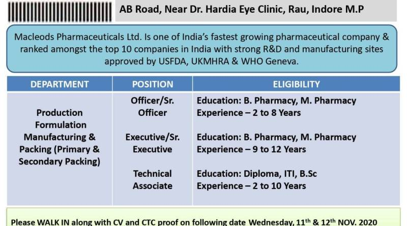 Macleods Pharma Limited WalkIn Interviews for Production Packing Department on 11th and 12th Nov 2020