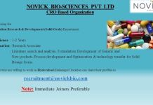 Novick Bio Sciences Pvt Ltd  Urgently Opening for Formulation Research and Development Solid Orals Apply Now