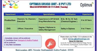 OPTIMUS DRUGS LIMITED WalkIn Interviews for Production EHS Department Apply Now