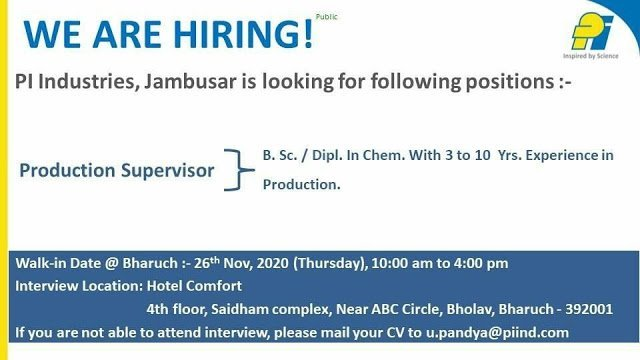 PI Industries Ltd WalkIn Interview for Production on 26th Nov 2020
