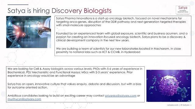 Satya Pharma Innovations Hiring Discovery Biologists Apply Now