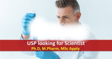 USP looking for Scientist in Reference Standard Laboratory PhD MPharm MSc