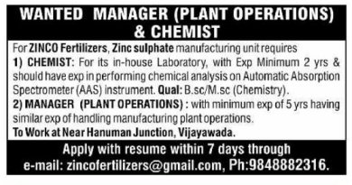 ZINCO Fertilizers Urgently Required Chemist Manager Plant Operations Apply Now