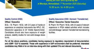 Zydus Cadila WalkIn Interview for Quality Control Quality Assurance on 7th Nov 2020