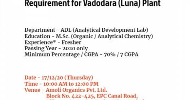 Amoli Organics Pvt Ltd WalkIn for MSc Organic Analytical Chemistry Freshers on 17th Dec 2020