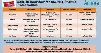 Annora Pharma WalkIn Interviews for Freshers and Experienced in Production Packing QC QA Warehouse Departments on 10th Dec 2020