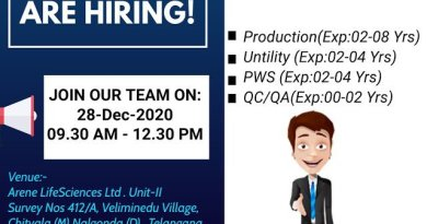 Arene Lifesciences Limited WalkIn Interviews for Freshers and Experienced in QC QA Production Departments on 28th Dec 2020