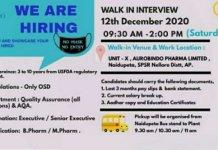 Aurobindo Pharma Ltd WalkIn Interviews for Quality Assurance AQA Departments on 12th Dec 2020