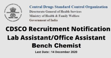 CDSCO Recruitment for BPharm MPharm MSc Degree 12th Candidates Lab Assistant Office Assistant Apply Now