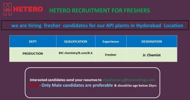 HETERO LABS LIMITED Recruitment for FRESHERS Apply Now