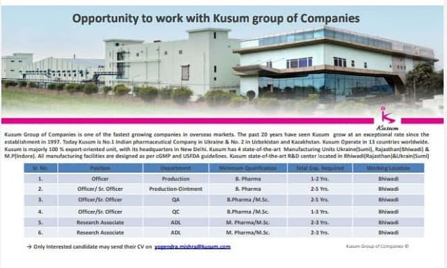 Kusum Healthcare Urgently Required for Production QA QC ADL Departments Apply Now