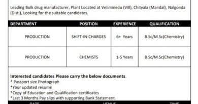 Mahalakshmi Laboratories Pvt Ltd Walk In Interviews for Production Chemists Shift InCharges on 21st to 26th Dec 2020