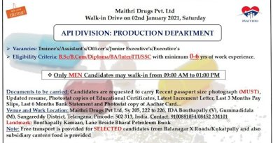 Maithri Drugs Pvt Ltd WalkIn Drive for Freshers and Experienced BSc Diploma SSC Candidates on 2nd Jan 2021