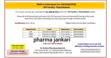 SRI KRISHNA PHARMACEUTICALS LTD Walk in Interviews for QA AQA on 12th dec 2020