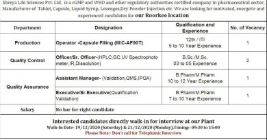Shreya Life Sciences Pvt Ltd WalkIn Interviews for Production QC QA on 19th and 21st Dec 2020