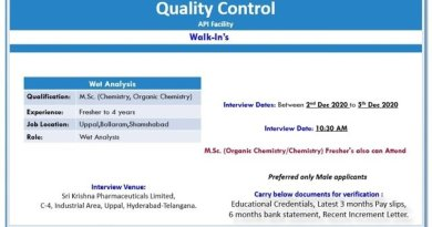 Sri Krishna Pharmaceuticals Ltd WalkIns for Freshers and Experienced in Quality Control on 2nd to 5th Dec 2020
