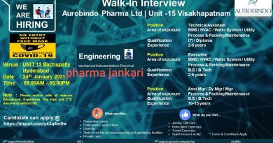 AUROBINDO PHARMA LIMITED WALK IN INTERVIEWS for mechanical Instrumentation Departments on 24th jan 2021