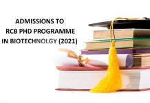 Admissions to RCB PhD programme in Biotechnolgy 2021