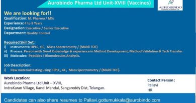 Aurobindo Pharma Limited Urgent Hiring for Quality Control Department Apply Now