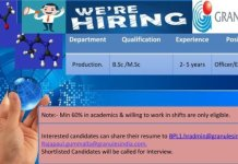 Granules India Limited Urgent Openings for Production Department Apply Now