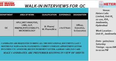 HETERO WalkIn Interviews for Quality Control on 30th Jan 2021