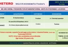 Hetero Drugs Walk In 31st Jan 2021 for Freshers Production Maintenance