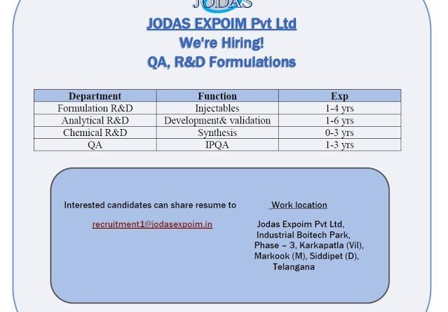JODAS EXPOIM PVT LTD Urgent Openings for Formulations R and D AR and D Chemical R and D QA  Departments