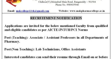 MAK College of Pharmacy Recruitment of Professors in All Departments Lab Technicians Office Assistants Apply on or before 24 01 2021