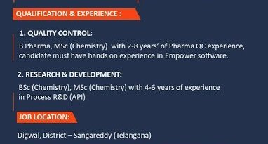 Piramal Pharma Limited WalkIn Interviews for Quality Control R and D on 24th Jan 2021