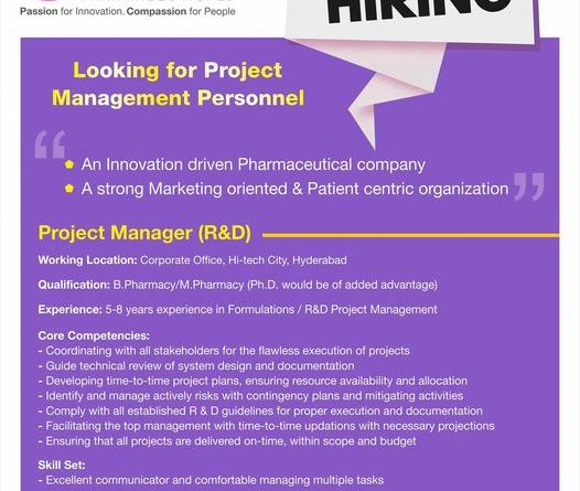 Pulse Pharmaceuticals Hiring Bpharma Mpharma for Project Manager R and D