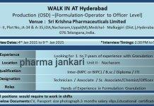 SRI KRISHNA PHARMACEUTICALS LTD Production osd Formulation Walk in Interviews on 4th jan 2021 to 9th jan 2021
