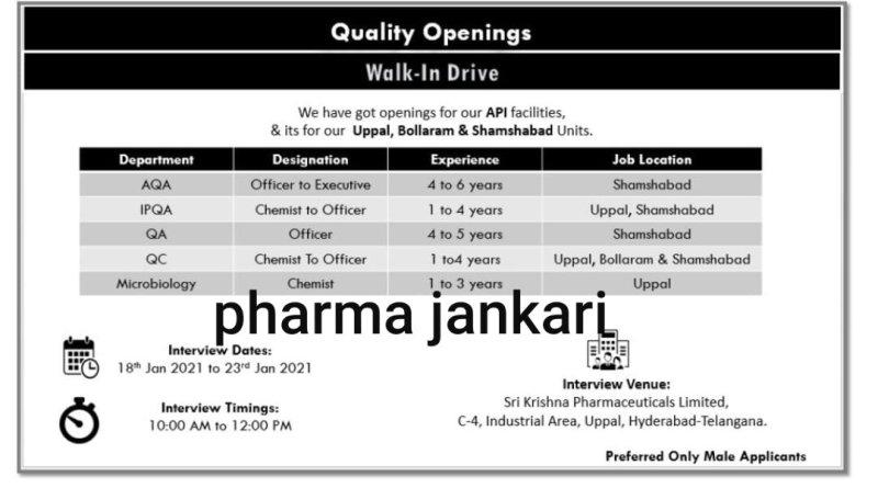 SRI KRISHNA Pharmaceuticals Ltd Walk in drive for QA QC Microbiology departments on 18th jan 2021 to 23rd Jan 2021