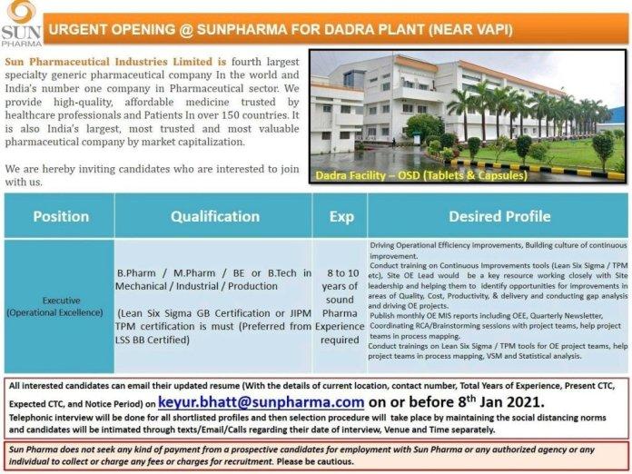 Sun Pharmaceuticals Ltd Urgent Openings