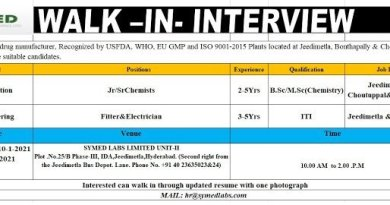 Symed Laboratories Limited WalkIn Interviews for Production Engineering on 9th 10th and 11th Jan 2021