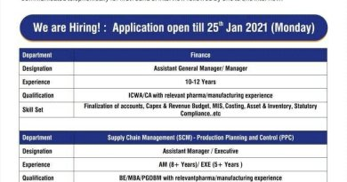 Torrent Pharma Limited Urgent Recruitment for Supply Chain Management Production Apply Before 25th Jan 2021