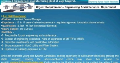UMEDICA LABORATORIES  Urgent Opening for Engineering and Maintenance Department Apply Now